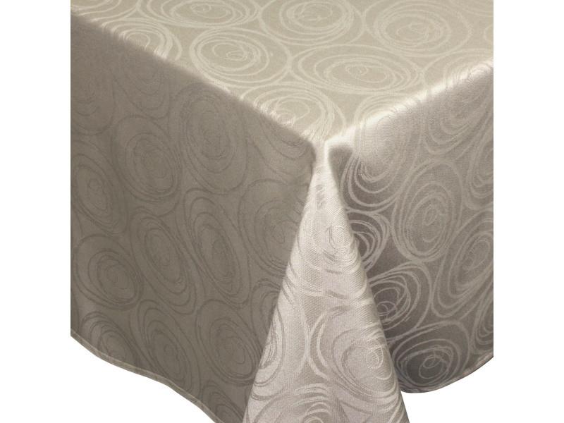Nappe carrée 175x175 cm jacquard 100% coton spirale taupe