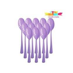 50 cuillères jetables plastique violet