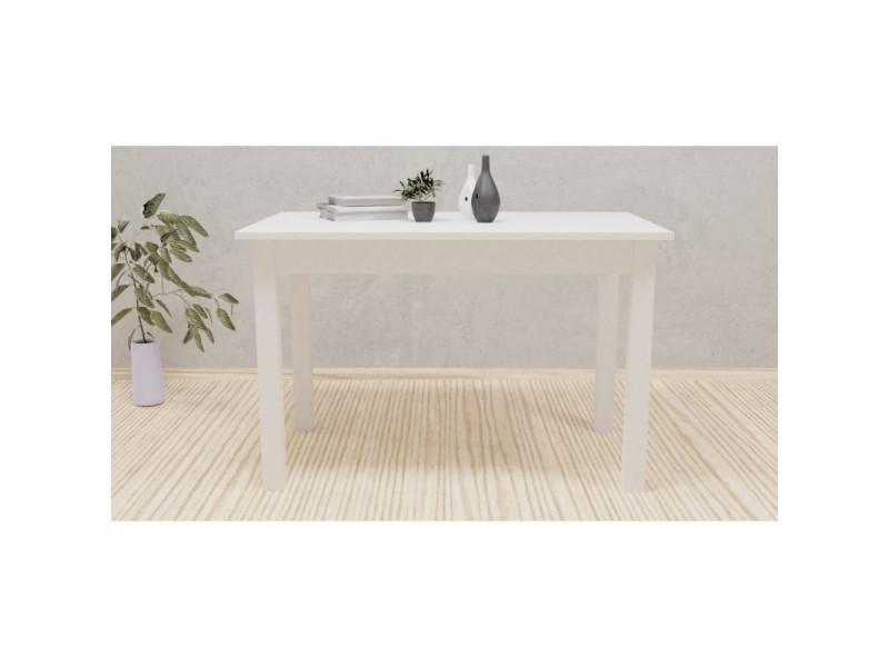 Nillo - table à manger extensible - 6-8 personnes - 120-160x77x70cm - plateau 22 cm - style scandinave - blanc