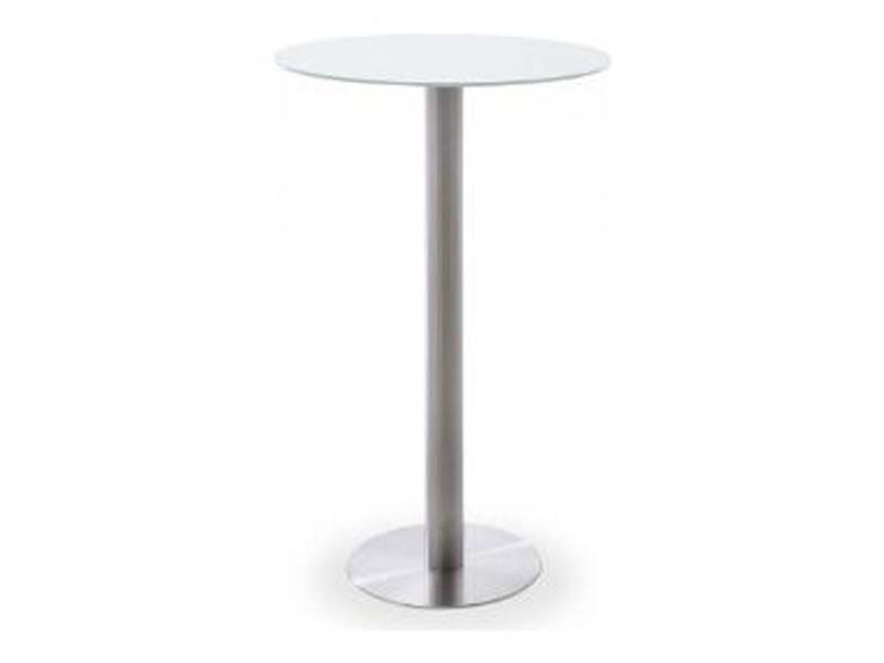 Table bar ronde avec plateau céramique blanc avec piètement acier brossé - l65 x h105 x p65 cm -pegane-