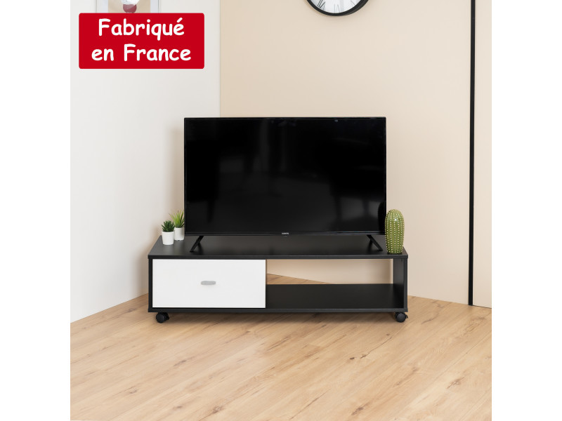 Meuble tv avec casier noir et blanc