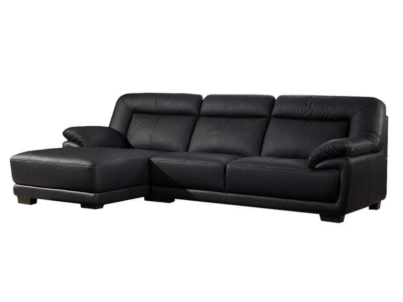Canapé cuir angle andy - gauche - noir