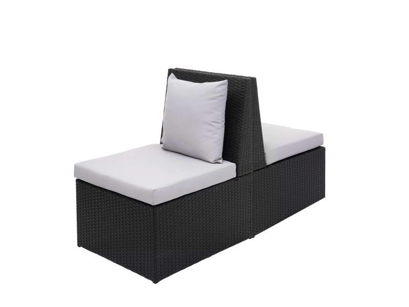 2x fauteuil en polyrotin hwc-g16, chaise de jardin, gastronomie ~ noir, coussin gris clair
