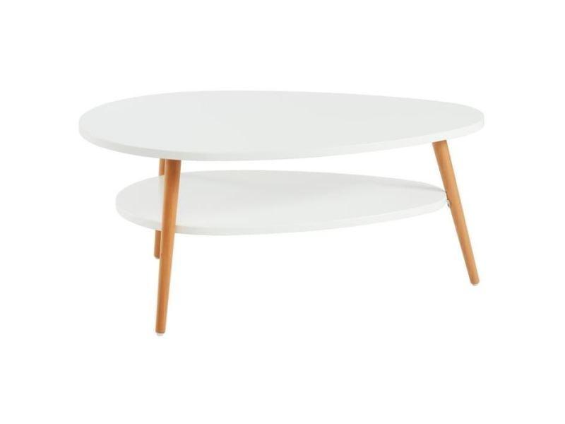 Table Basse Stone Table Basse Ovale Scandinave Blanc Laque Mat L 90 X L 60 Cm Vente De Sans Marque Conforama