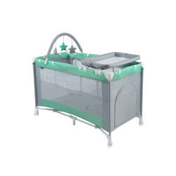 Lit parapluie bébé / lit pliant à 2 niveaux penny 2+ vert
