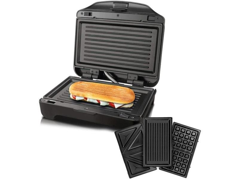 Appareil à sandwich 3 en 1 miami premium 900w gris noir