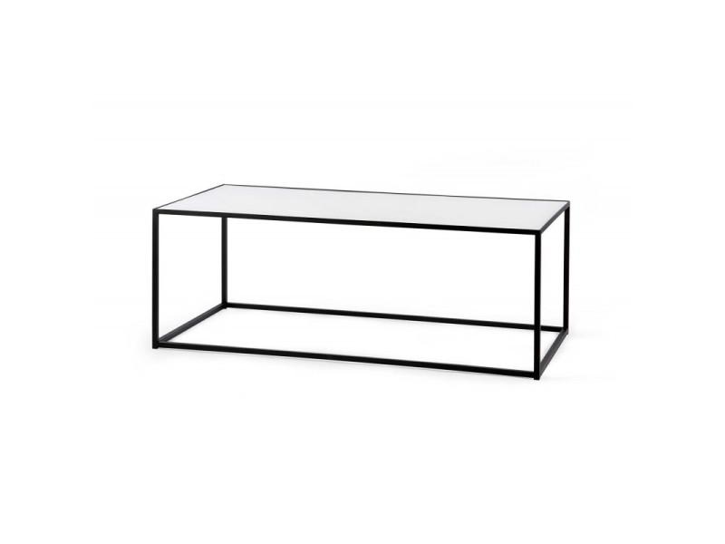 Table basse industrielle rectangulaire métal et verre montero / coloris : blanc