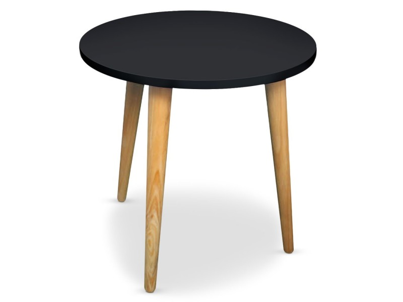 Table basse ronde style scandinave typik noir vente de for Table basse scandinave conforama