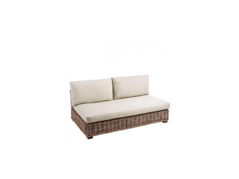 Canapé 2 places d'extérieur rotin tressé tissu beige rattan