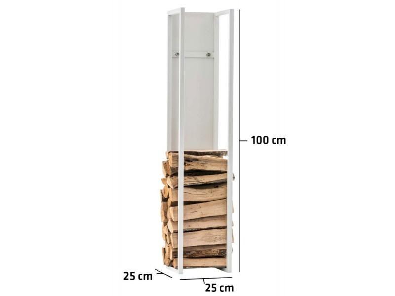 Range-bûches étagère en métal blanc bois de cheminée 25x25x100 cm dec10017