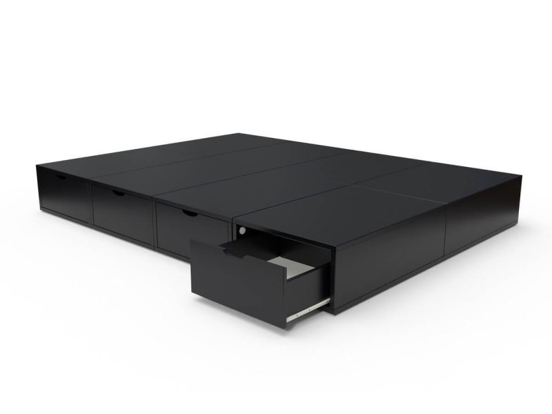 Lit double avec rangement tiroirs cube 140x200 noir LITCUB140-N