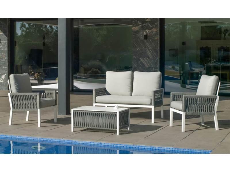 Ensemble salon de jardin haut de gamme havan 7 en aluminium blanc/cordage gris anais blanc, hev31871 31871