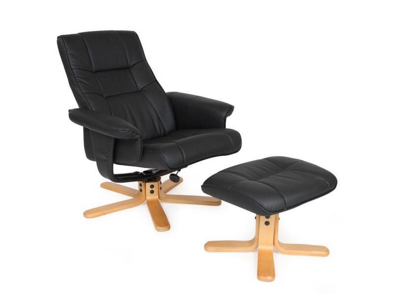 Fauteuil de relaxation détente tv avec tabouret noir pied beige helloshop26 1808003