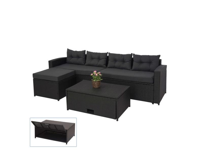 Ensemble poly rotin hwc-j34, ensemble balcon/jardin/salon groupe de sièges sofa, ~ noir, coussins gris foncé