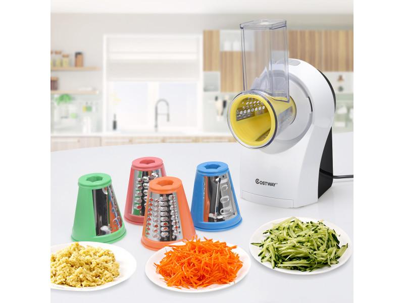 Giantex râpe légumes electrique 3 en 1 avec 5 lames en acier inoxydable 150 w fin épais trancher gratter fromage mandoline légumes fruits glace