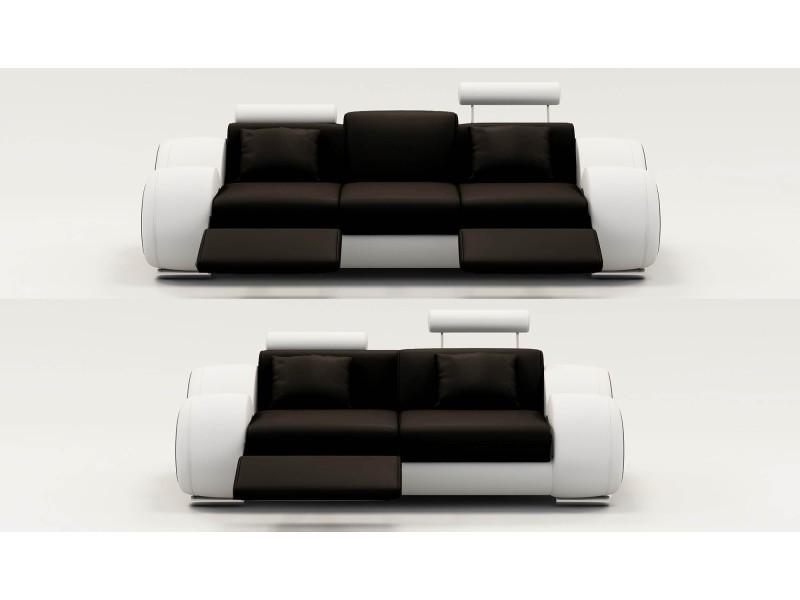 Ensemble cuir relax oslo 3+2 places noir et blanc-
