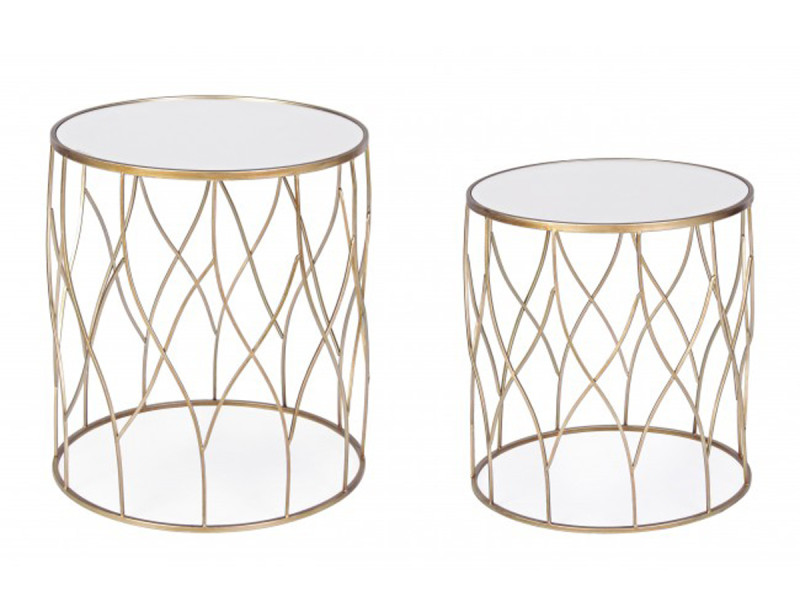 Set de 2 tables basses rondes en fer - pegane -