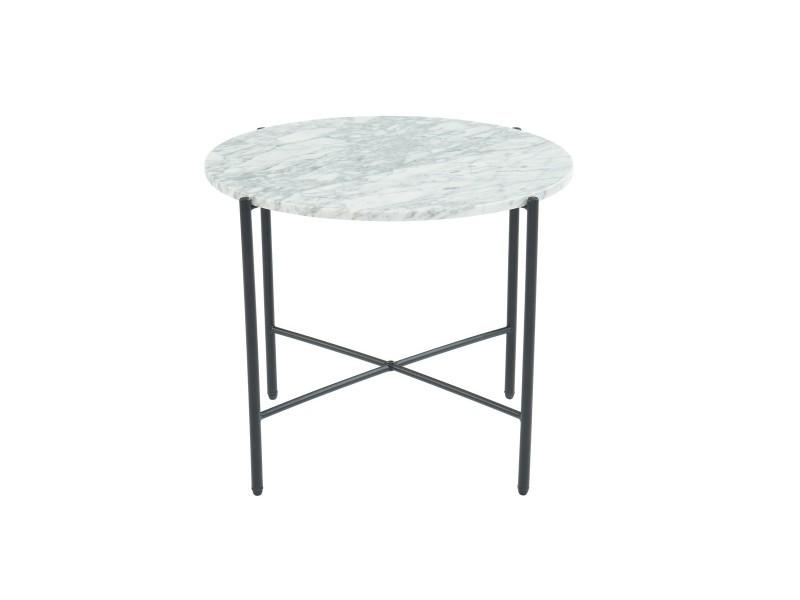 Table d'appoint ronde 55 cm en marbre blanc et pieds en métal noir - collection telma.
