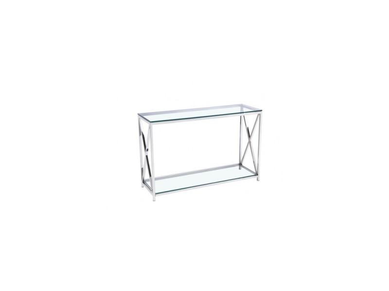 Console 2 plateaux verre transparent et chrome liege