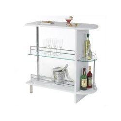 Table haute de bar james mdf décor blanc