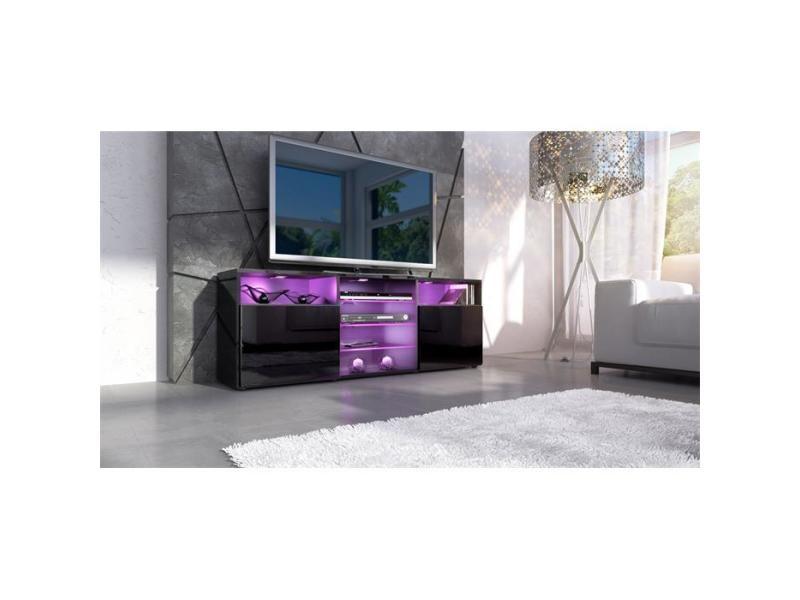 Meuble design tv noir avec led