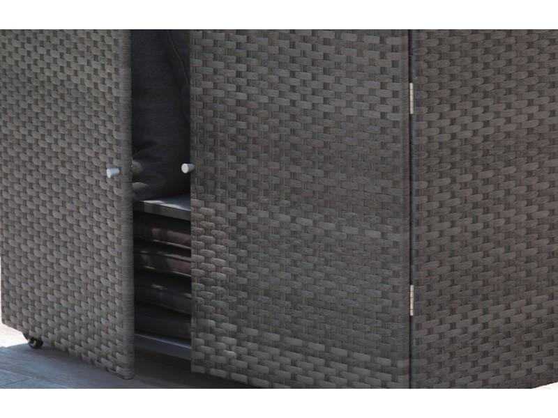 Coffre bar d 39 ext rieur en r sine tress e marron vente de for Bar exterieur resine tressee