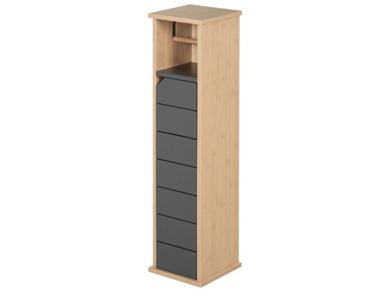Support papier toilette - porte-papier toilette - armoire pour papier toilette - 2 niveaux + sortie papier mdf gris bambou
