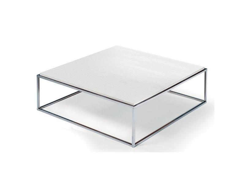 Table basse carrée mimi xl blanc céruse structure acier inoxydable poli 20100853490