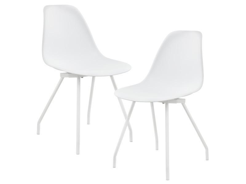 [en.casa]® - 2 chaises de design du plastique - pieds stabils en acier - blanc