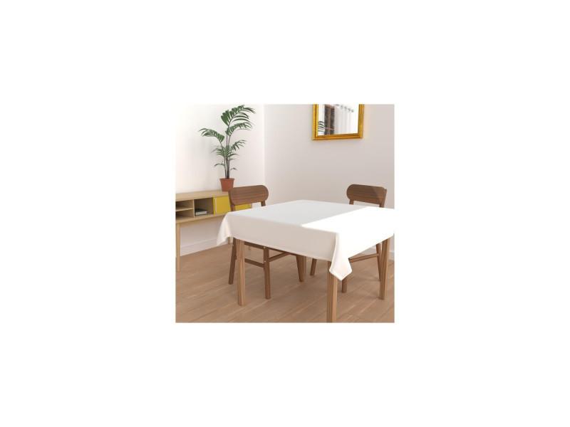 Nappe anti-tâches carrée 140x140 cm alix blanc