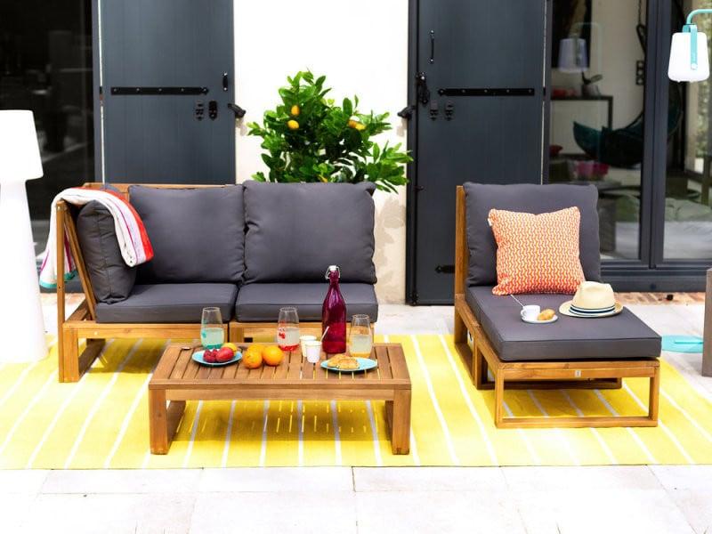 Salon de jardin bas en acacia fsc 4 places movea gris - Vente de ...