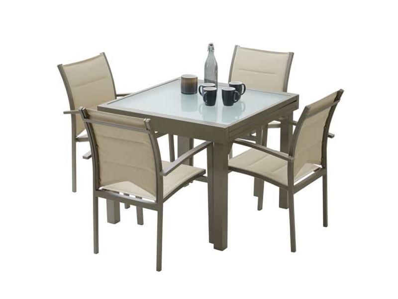Ensemble table et chaises de jardin modulo 4 places taupe W_603110 ...