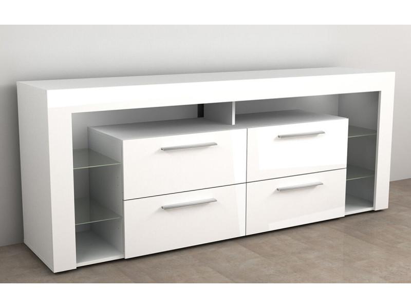 Meuble tv en mdf coloris blanc brillant / blanc noble - 180 x 73 x 42 cm -pegane-