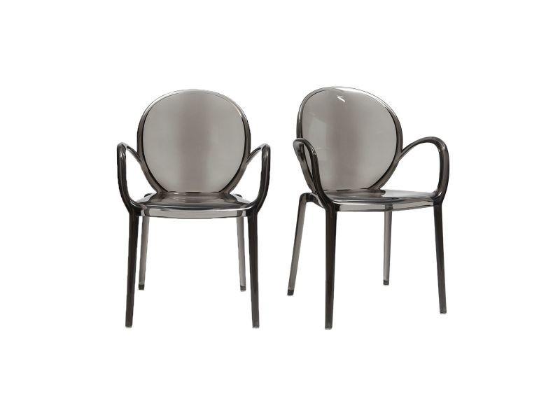 Chaises empilables design fum e transparentes lot de 2 cristal vente de chaise conforama - Chaises transparentes design ...