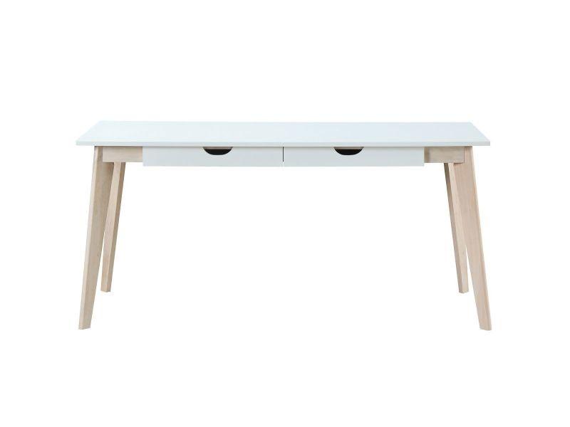 Bureau scandinave avec tiroirs bois blanc l leena vente de