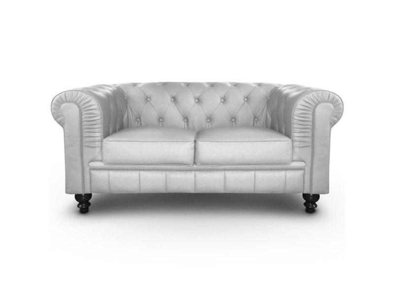 canap 2 places chesterfield argent vente de menzzo conforama. Black Bedroom Furniture Sets. Home Design Ideas