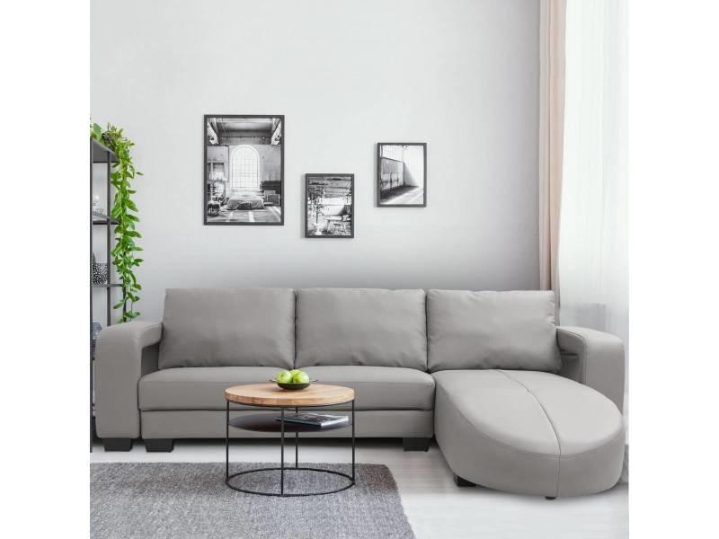 Canapé d'angle en simili cuir matha gris