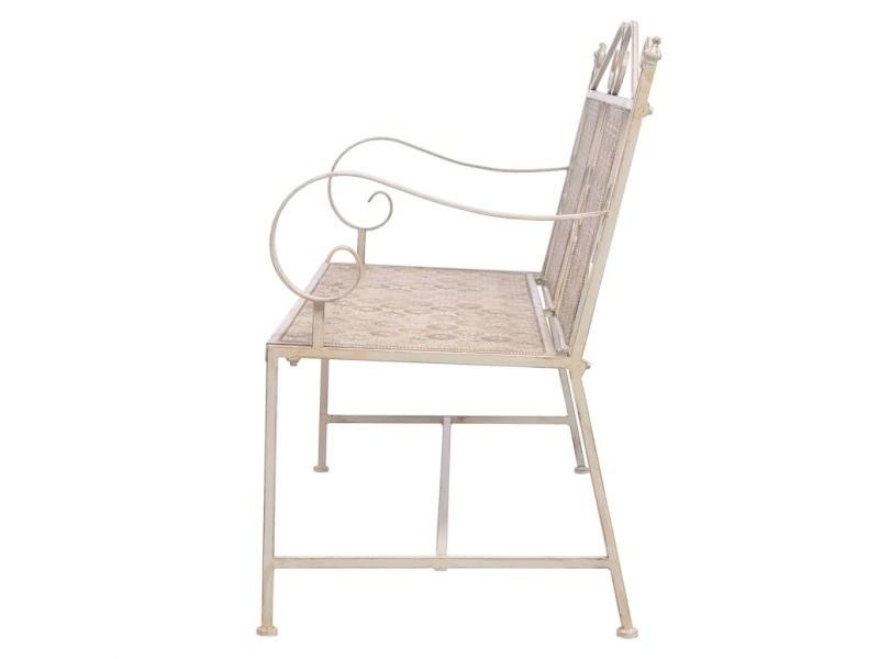 Vidaxl banc de jardin acier 115 x 58,5 93 cm blanc 43148 - Vente de ...