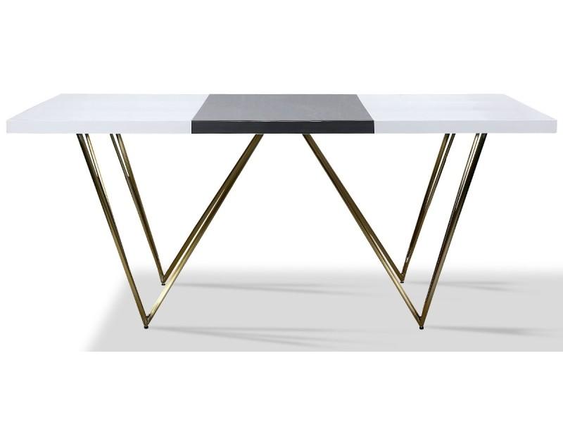 Table à manger laqué/acier jazz - blanc/gris/