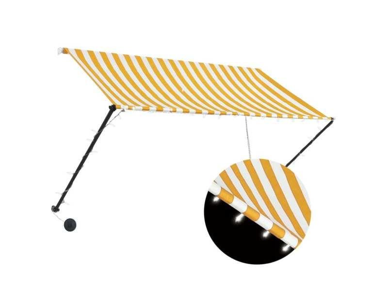 Vidaxl auvent rétractable avec led 250x150 cm jaune et blanc 145910