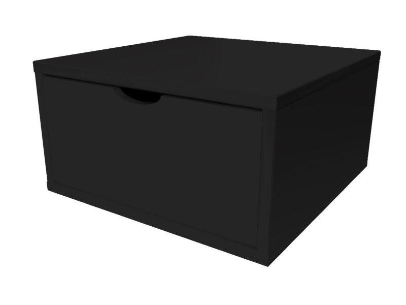 Cube de rangement bois 50x50 cm + tiroir noir CUBE50T-N