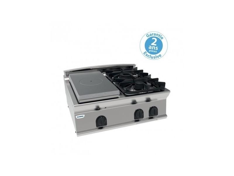 Plaque coup de feu à poser - top 2 feux vifs gaz et 1/2 plaque coup de feu à poser - gamme 700 - module 400 - tecnoinox -