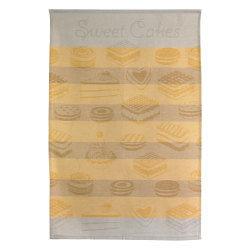 Torchon de cuisine toile 50x70 cm cakes jaune
