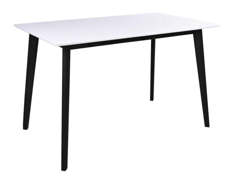 Table de repas coloris blanc / noir en bois - dim : 120 x 70 x 75 cm -pegane-