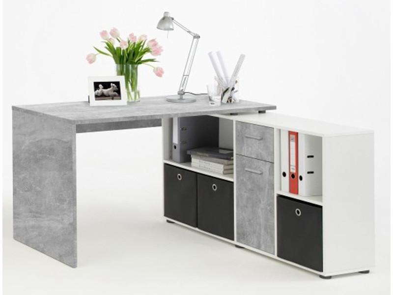 Bureau angulaire réversible en bois coloris light atelier blanc