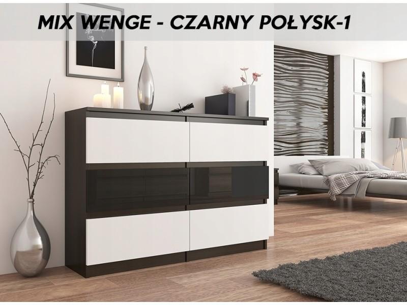 Munich 1w | commode contemporaine chambre salon bureau | 140x77x30 | dressing 6 tiroirs | meuble de rangement scandinave | wenge/blanc/noir laqué