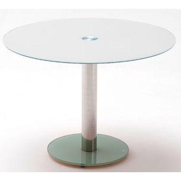 Table manger en m tal et verre de s curit blanc - Conforama table de salle a manger en verre ...
