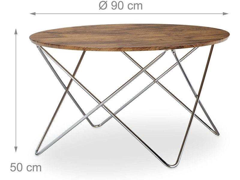Table basse d'appoint ronde pieds croisés diamètre 90 cm bois et métal helloshop26 13_0002685_2