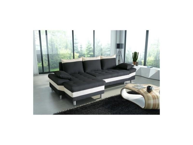 Canapé d'angle convertible avec coffre punto noir et blanc angle gauche TENDENCIO
