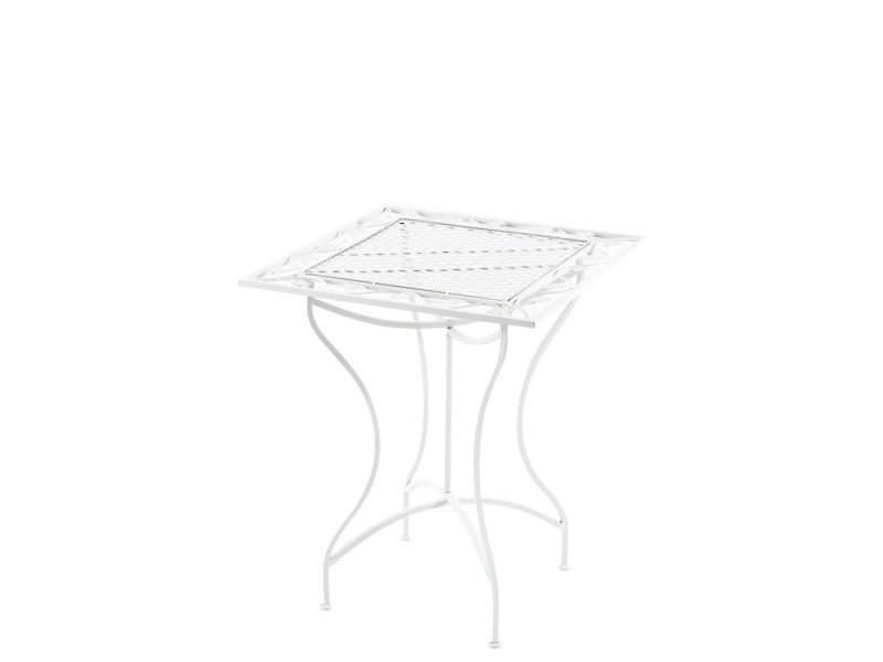 Table de jardin en fer forgé asina 60 x 60 cm , blanc
